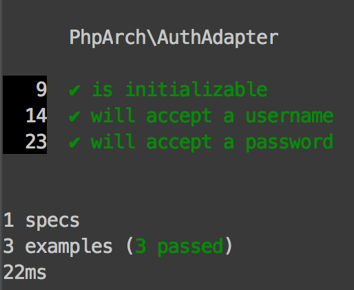Figure 3 - Successful phpspec run